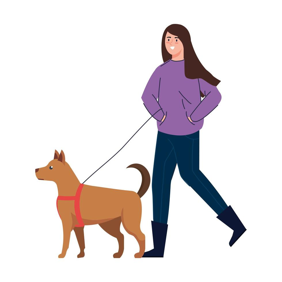 femme qui marche un chien vecteur