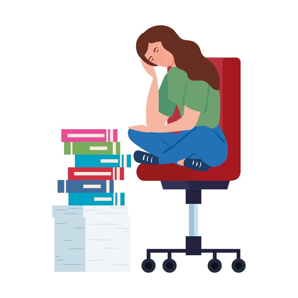 Femme nerveuse assise sur une chaise avec beaucoup de travail à faire vecteur