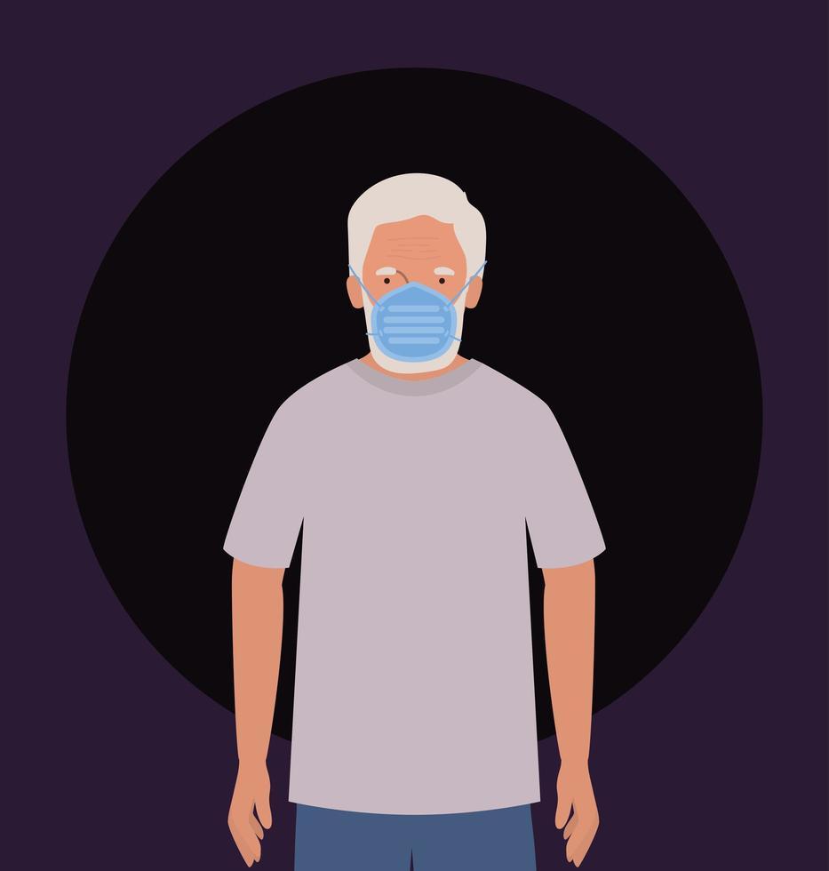 homme âgé avec masque contre la conception de vecteur de covid 19