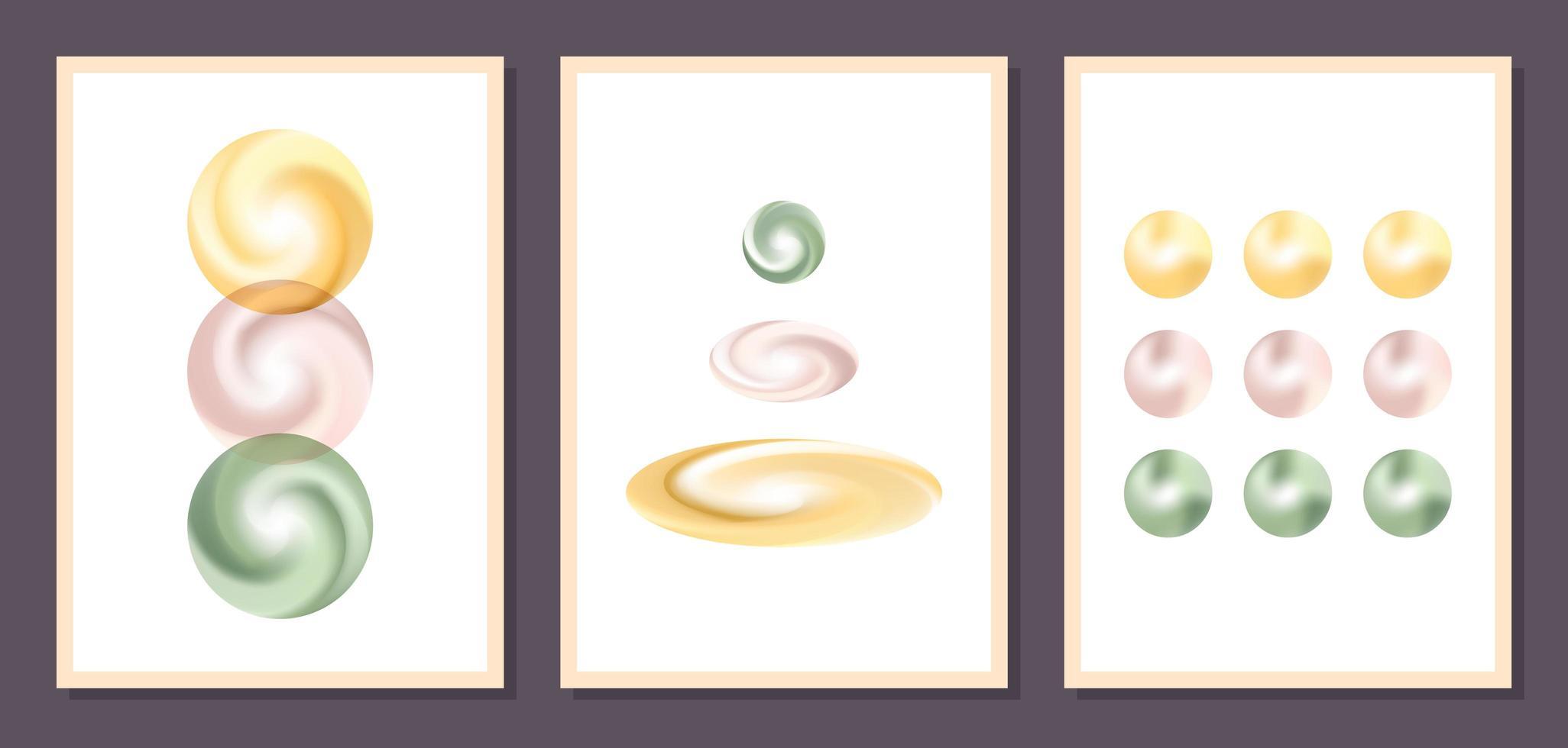 affiches murales minimalistes art vectoriel géométrique. ensemble de modèle de vecteur minimaliste géométrique abstrait affiches contemporaines avec des éléments de formes de sphères idéal pour la décoration murale de style scandinave moderne