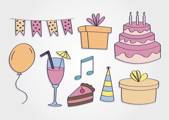 Vecteur d'éléments de fête d'anniversaire