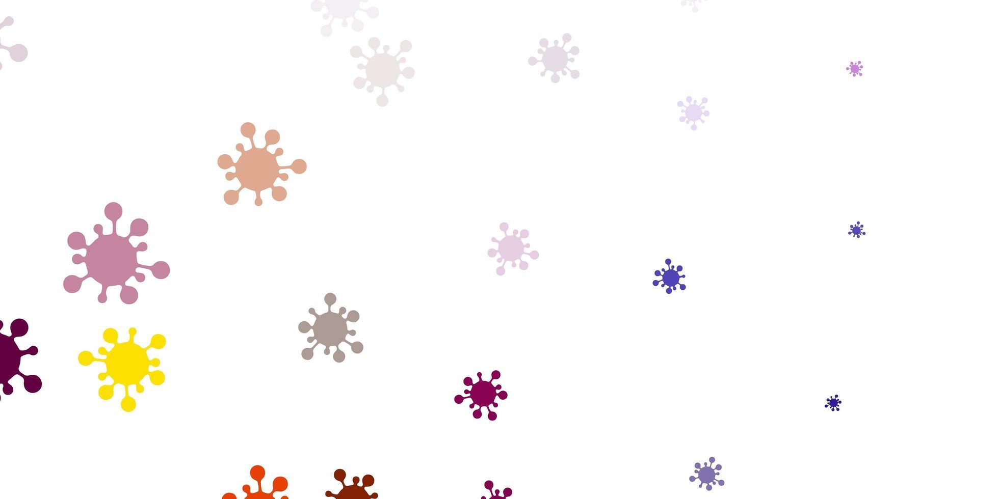 fond de vecteur rose clair, jaune avec symboles covid-19