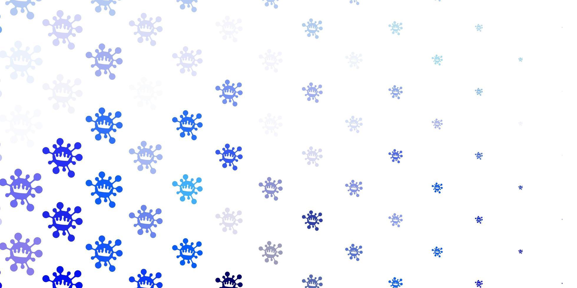 toile de fond de vecteur rose clair, bleu avec symboles de virus