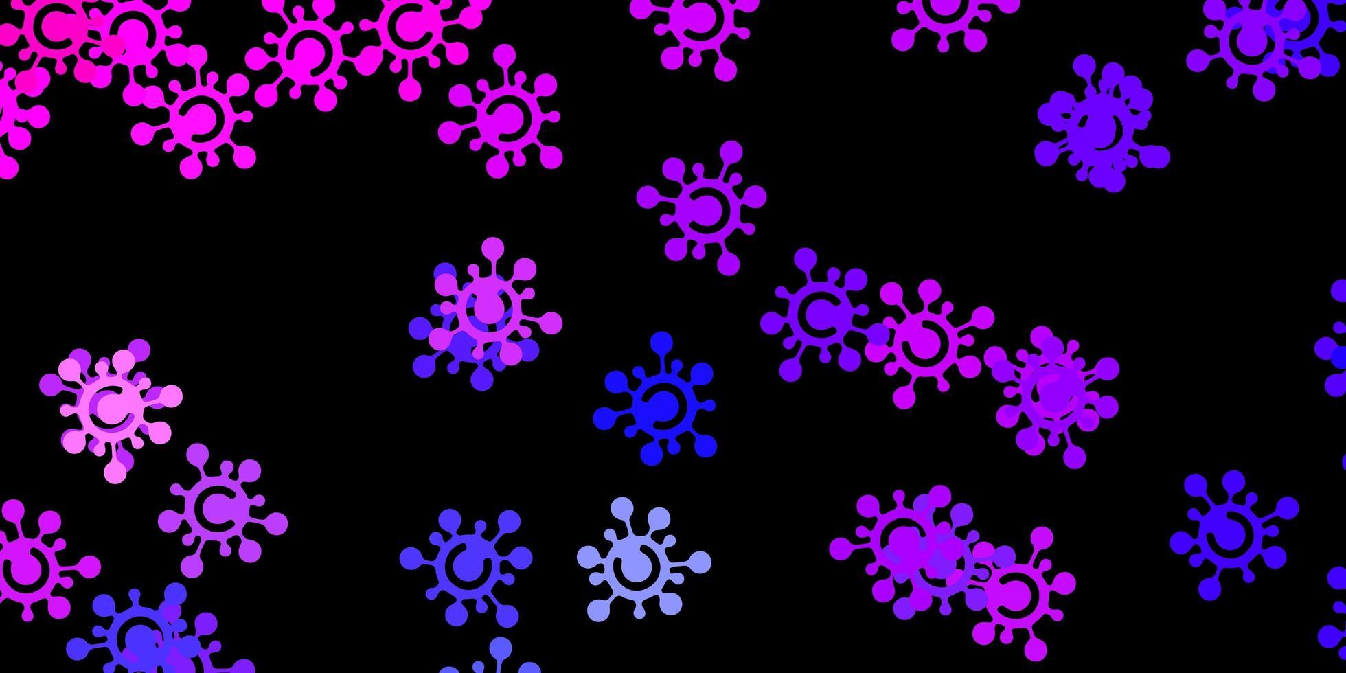 modèle vectoriel rose foncé, bleu avec des éléments de coronavirus.