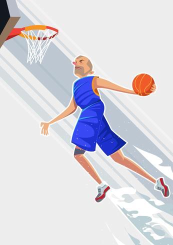 Joueur de basketball exagéré vecteur