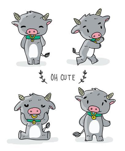 Illustration vectorielle de Buffalo mignon personnage Doodle vecteur