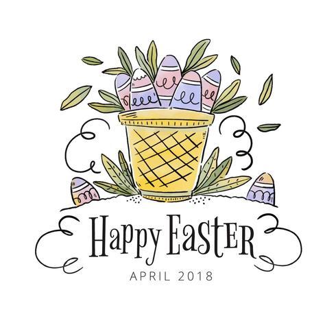 Panier mignon avec des oeufs à l'intérieur pour le jour de Pâques vecteur