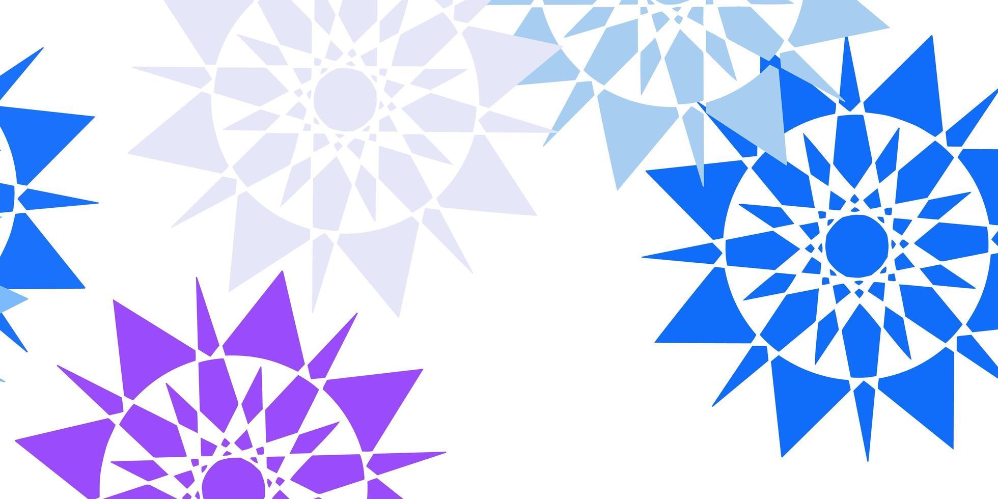 modèle vectoriel rose clair, bleu avec des flocons de neige colorés.
