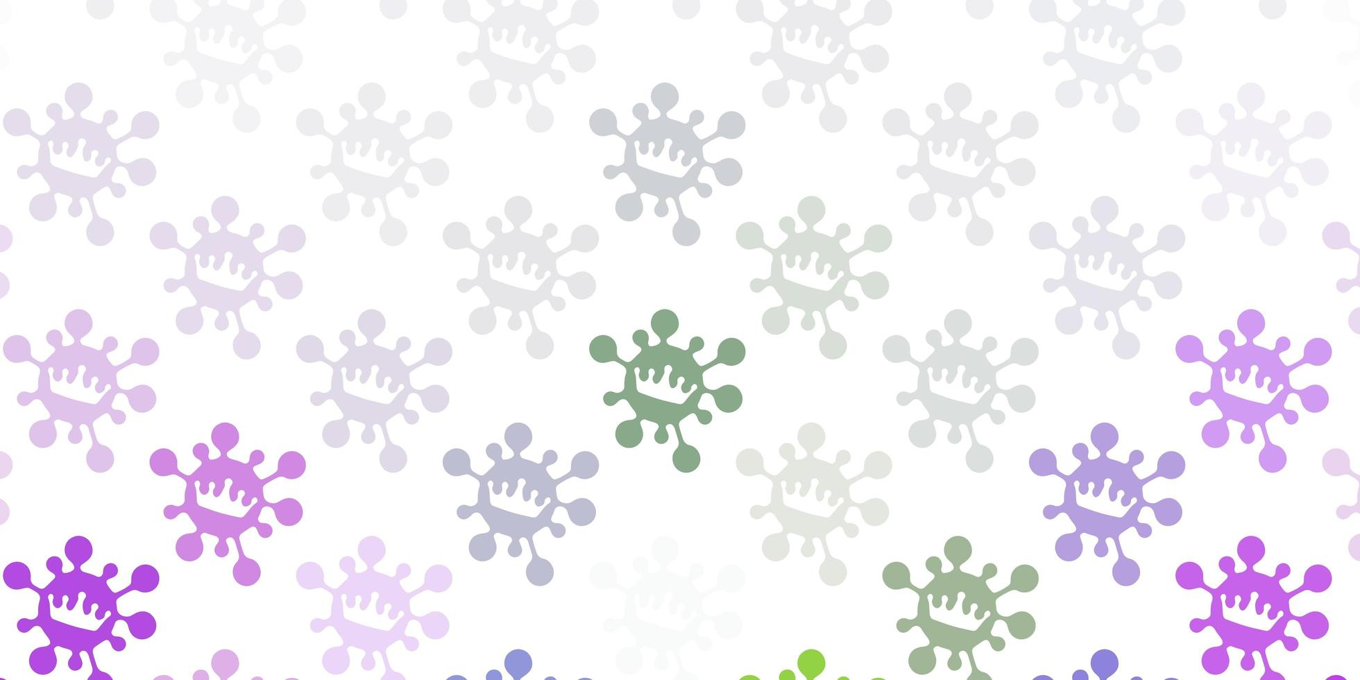 toile de fond de vecteur rose clair et vert avec symboles de virus