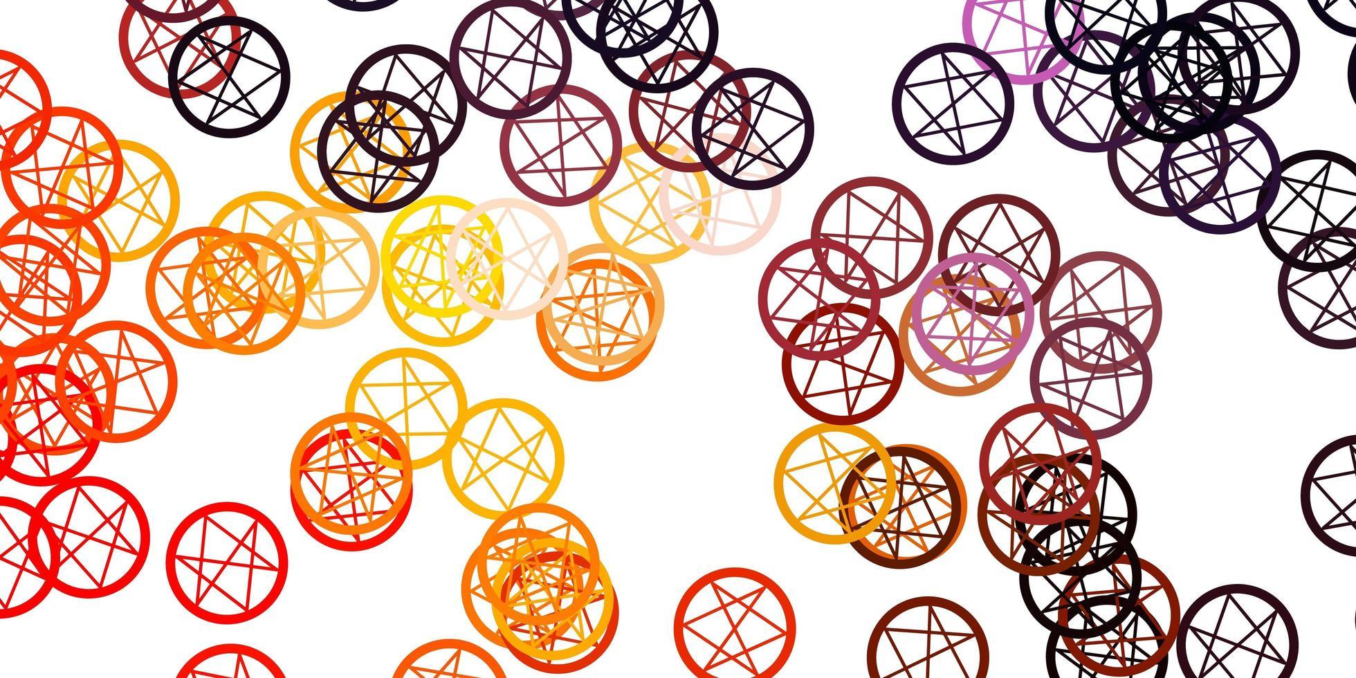 toile de fond de vecteur rose clair, jaune avec des symboles mystérieux.