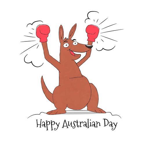 Kangourou mignon avec des gants de boxe à la journée de l'Australie vecteur