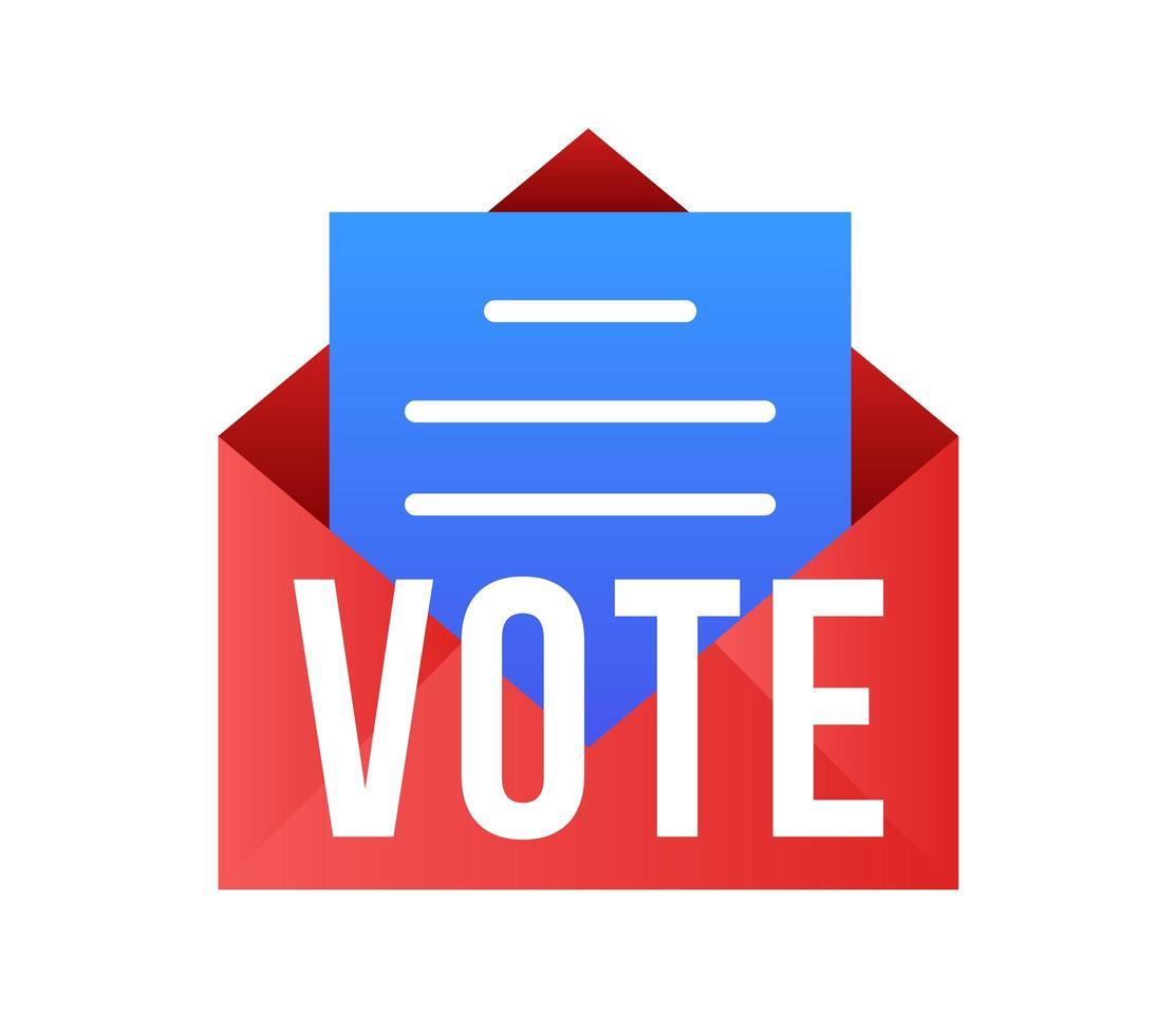 voter par illustration vectorielle de courrier. concept de sécurité pour l'élection présidentielle des États-Unis de 2020. modèle pour fond, bannière, carte, affiche avec inscription de texte. vecteur