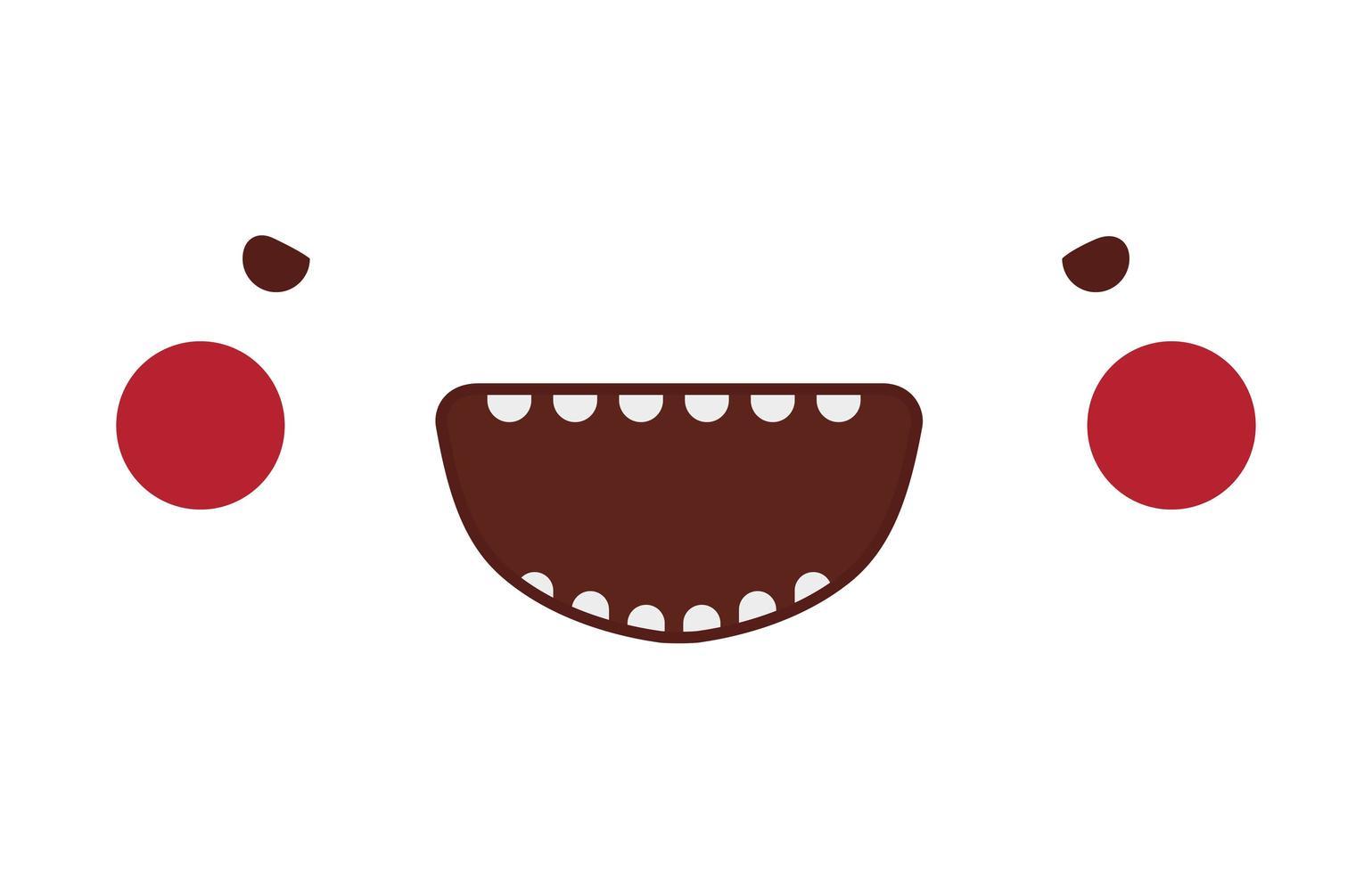 visage de dessin animé diable kawaii avec dessin vectoriel