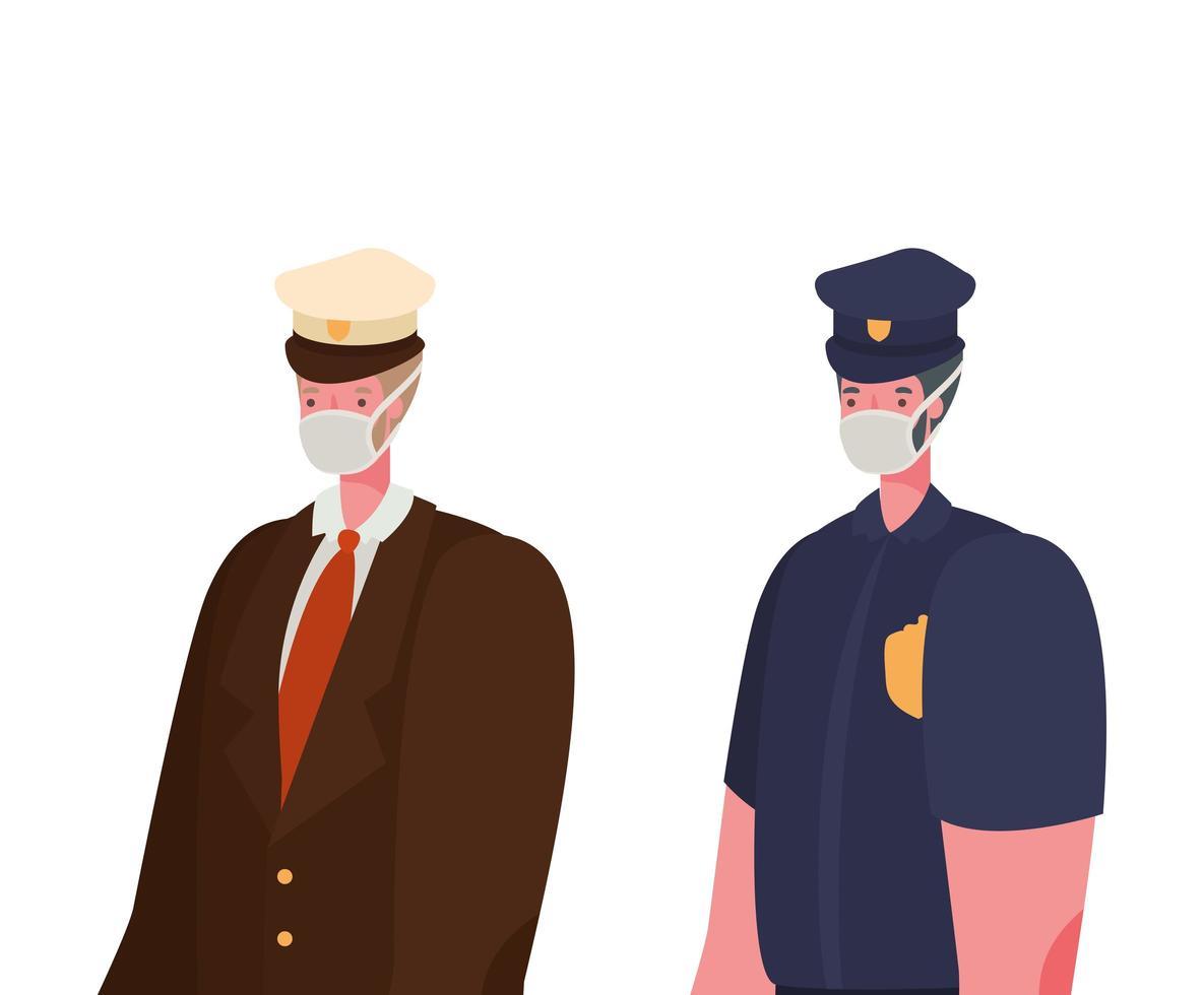 capitaine masculin et police avec conception de vecteur de masques