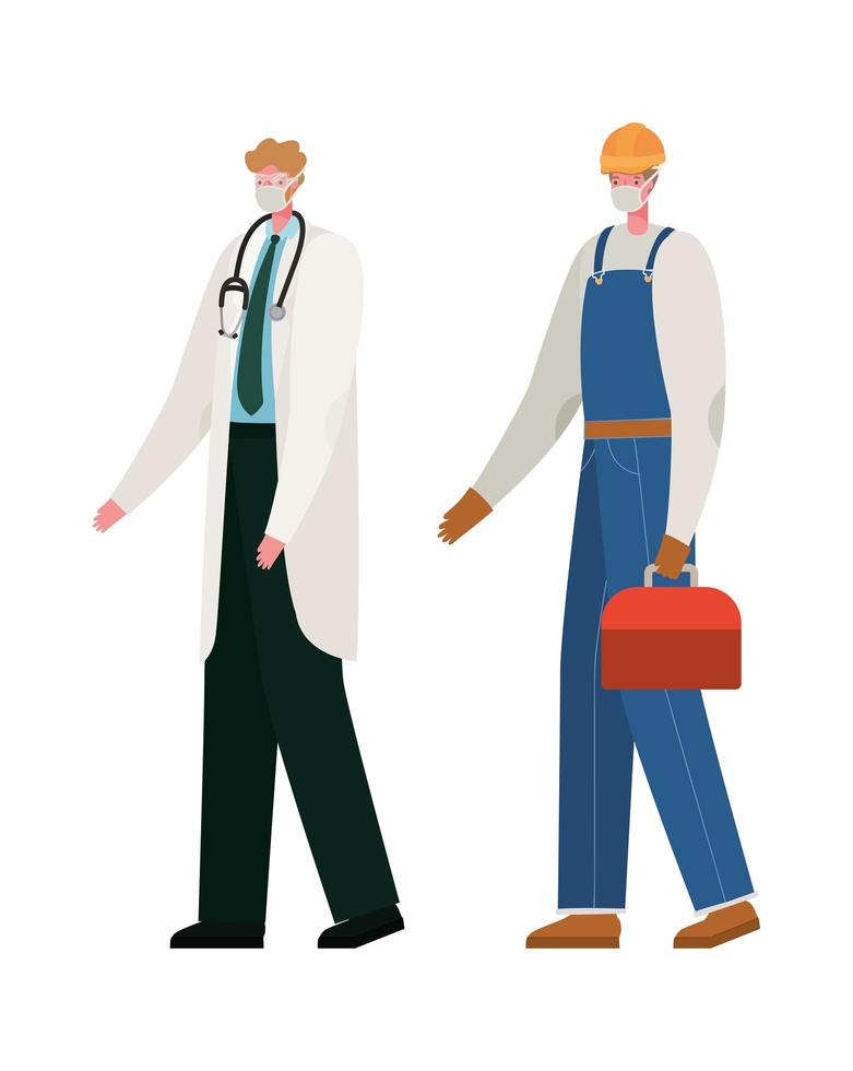 médecin de sexe masculin isolé et constructeur avec conception de vecteur de masques