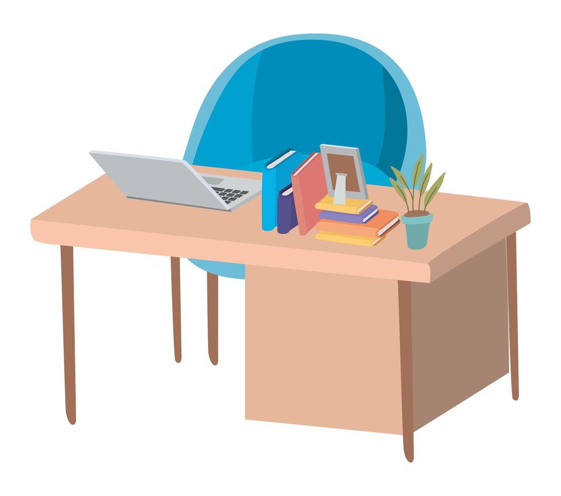 bureau avec ordinateur portable et conception de vecteur de chaise bleue