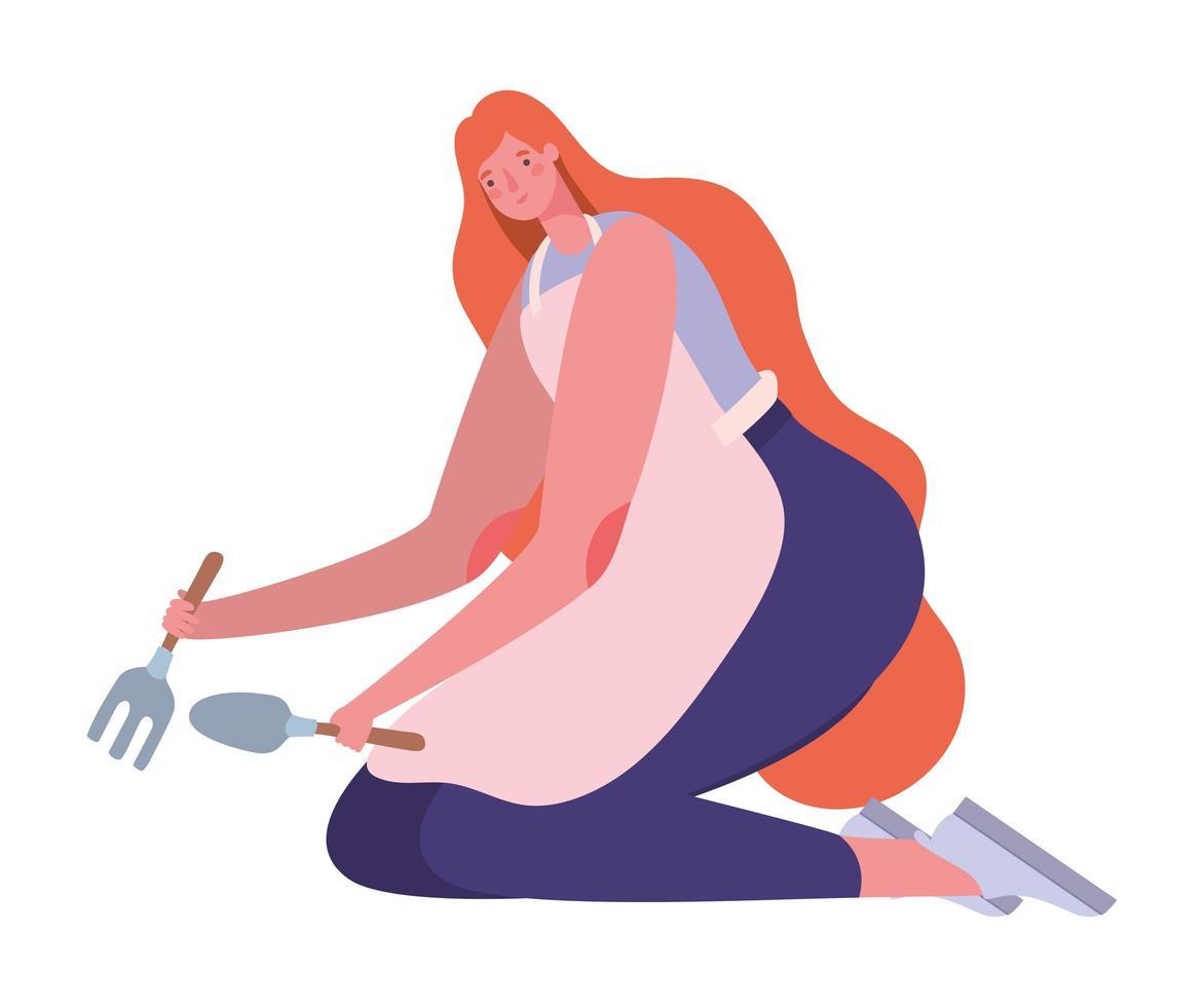 dessin animé femme avec pelle râteau et tablier vector design