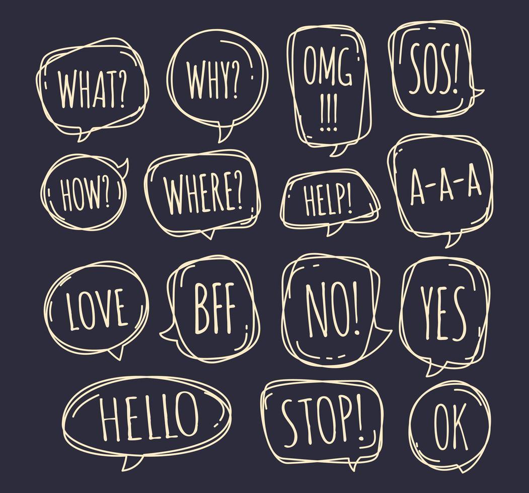 ensemble de différentes bulles de style doodle avec texte non, arrêtez, ok, oui, amour, sos, quoi et autres à l'intérieur. illustration vectorielle vecteur