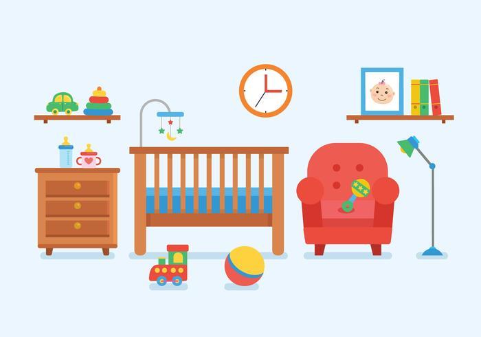 Décor de chambre d'enfants vecteur