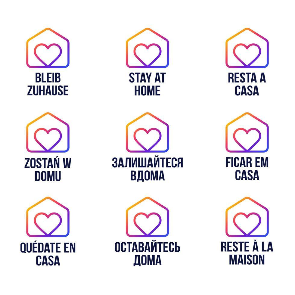 rester à la maison design logo vectoriel dans différentes langues. épidémie de coronavirus covid-19. rester à la maison pour protéger les autres. autocollant pour site Web ou projet