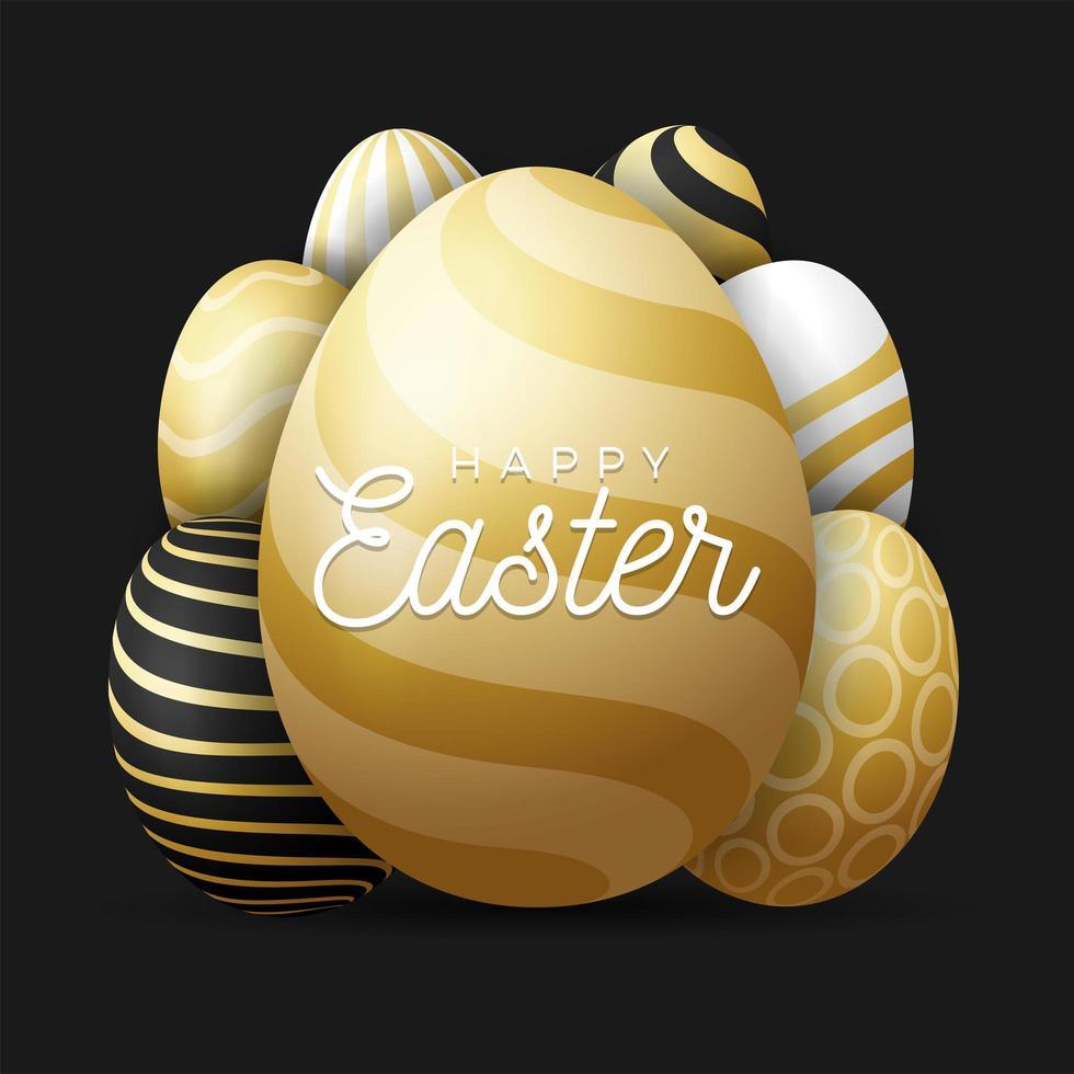 illustration vectorielle de luxe carte de voeux oeufs de pâques. un gros œuf d'or au premier plan avec un texte de félicitations à l'intérieur et de nombreux petits œufs cachés en arrière-plan. fond noir. vecteur
