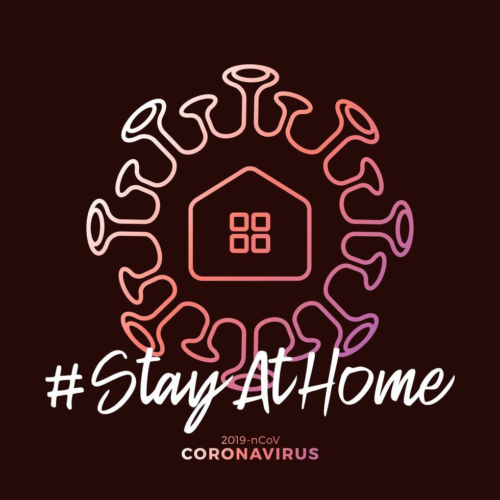 rester à la maison signe. virus corona covid-19 écrit dans la conception de l'affiche de la typographie.Sauver la planète du virus corona. restez en sécurité à l'intérieur de la maison. prévention du virus. vecteur