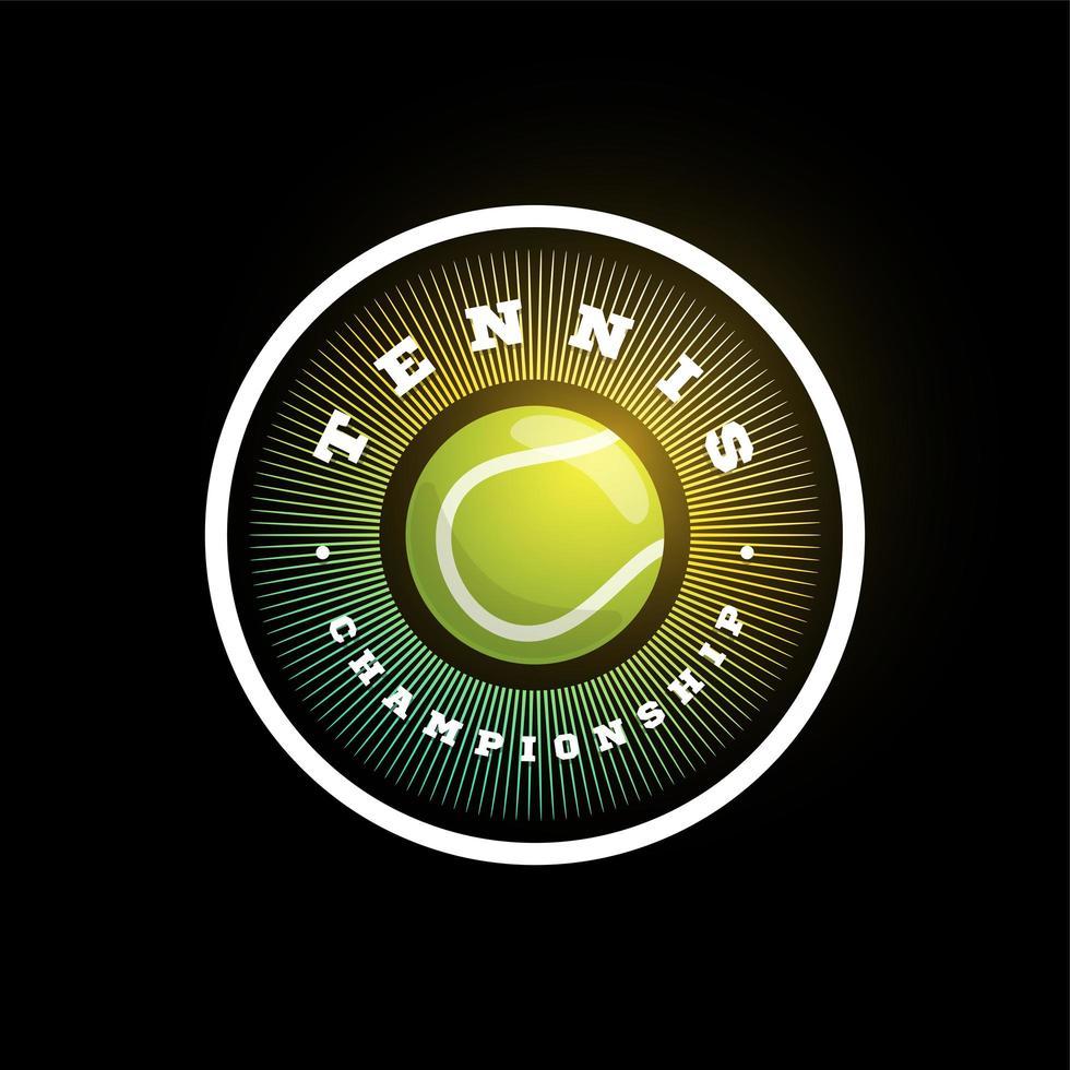 logo vectoriel circulaire de tennis. typographie professionnelle moderne sport emblème de vecteur de style rétro et conception de logo de modèle. logo coloré de tennis.
