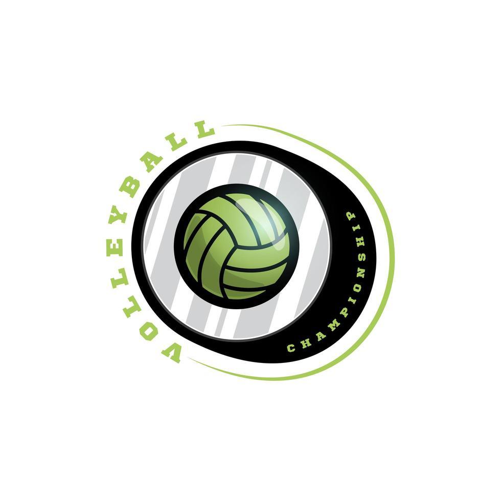 logo vectoriel circulaire de volley-ball. typographie professionnelle moderne sport emblème de vecteur de style rétro et conception de logo de modèle. logo coloré de volleyball