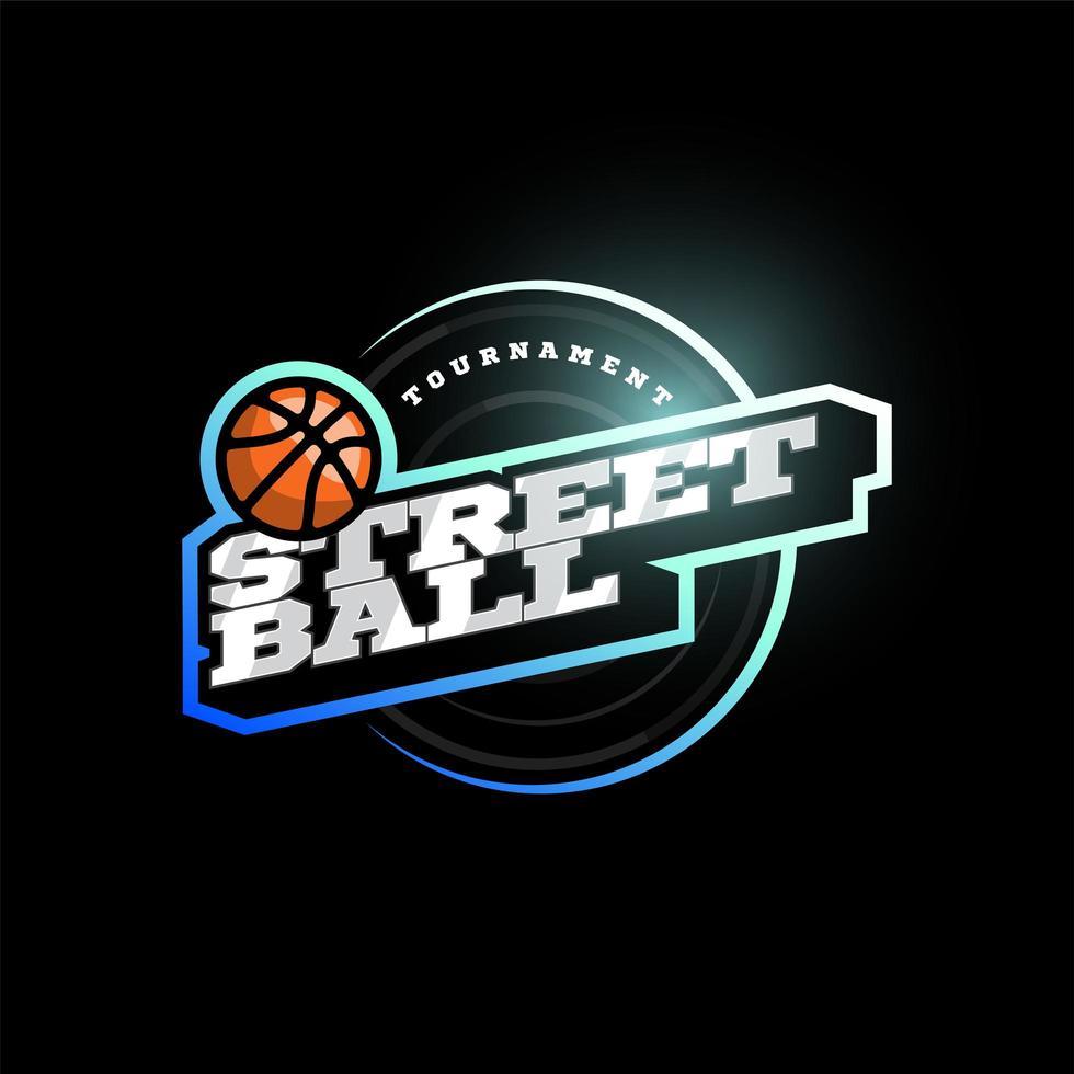 Logotype de typographie de sport professionnel moderne de streetball dans un style rétro. emblème de conception de vecteur, insigne et création de logo de modèle sportif. vecteur