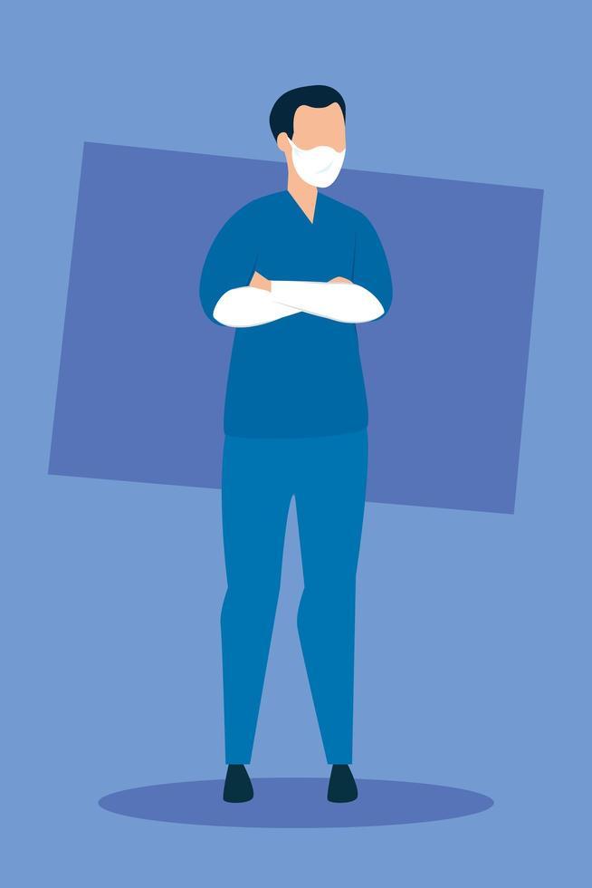 ambulancier masculin avec icône isolé de masque facial vecteur