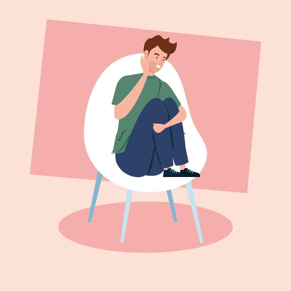 homme assis sur la chaise avec une crise de stress vecteur