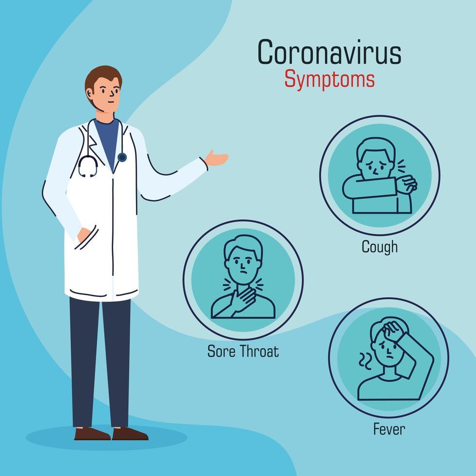 bannière de prévention des coronavirus avec médecin vecteur