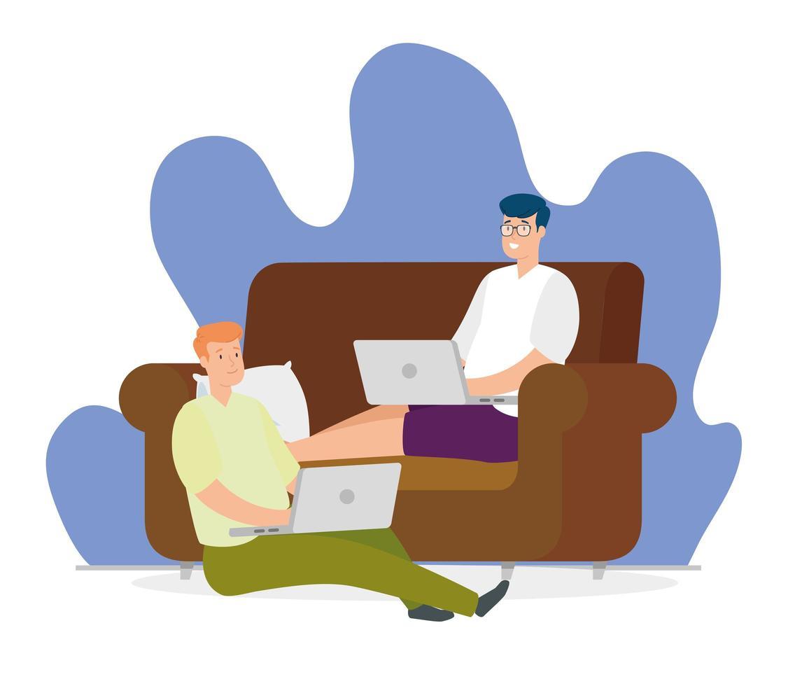 hommes travaillant sur leur ordinateur portable sur le canapé vecteur