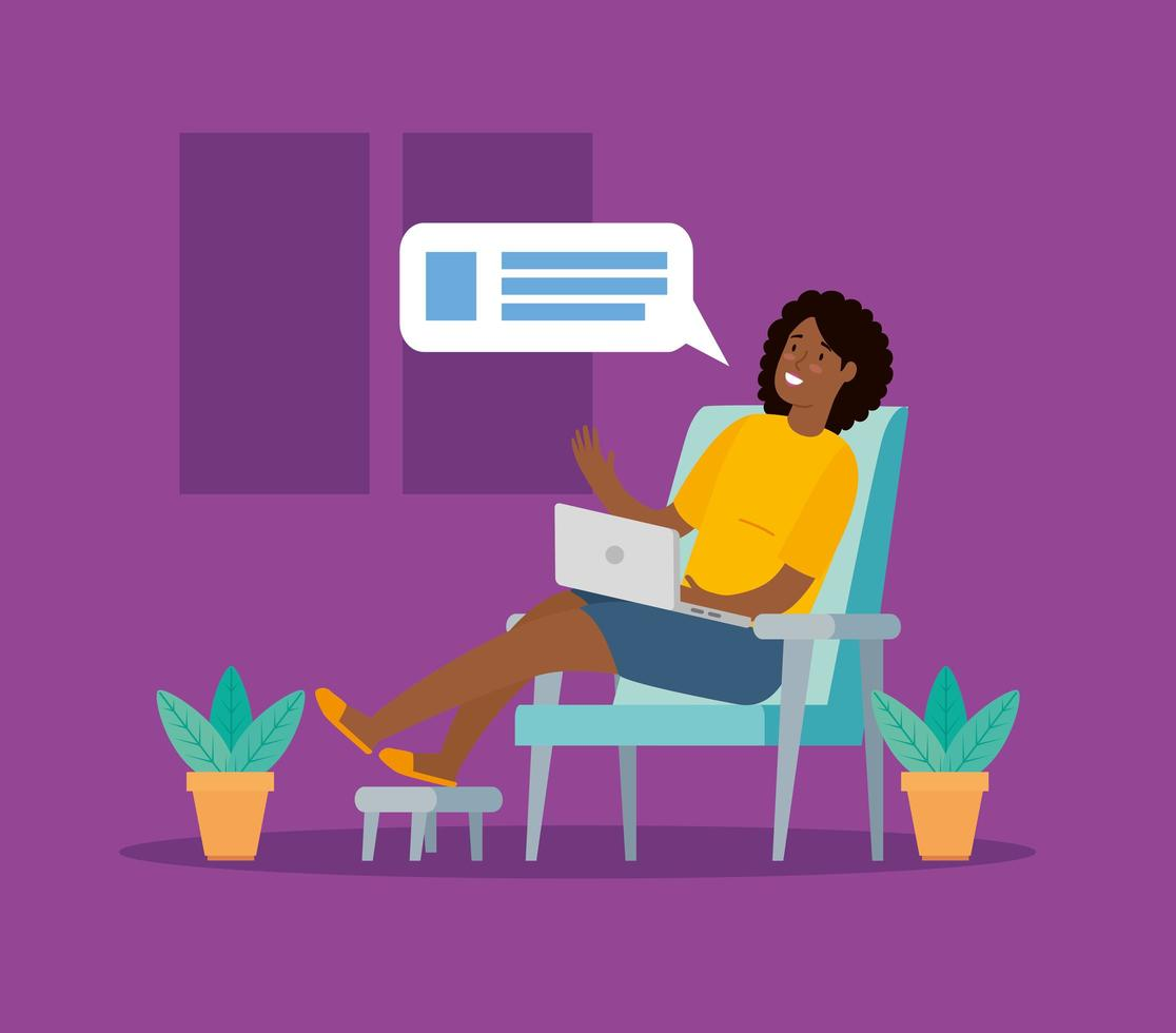 femme assise sur la chaise avec ordinateur portable vecteur