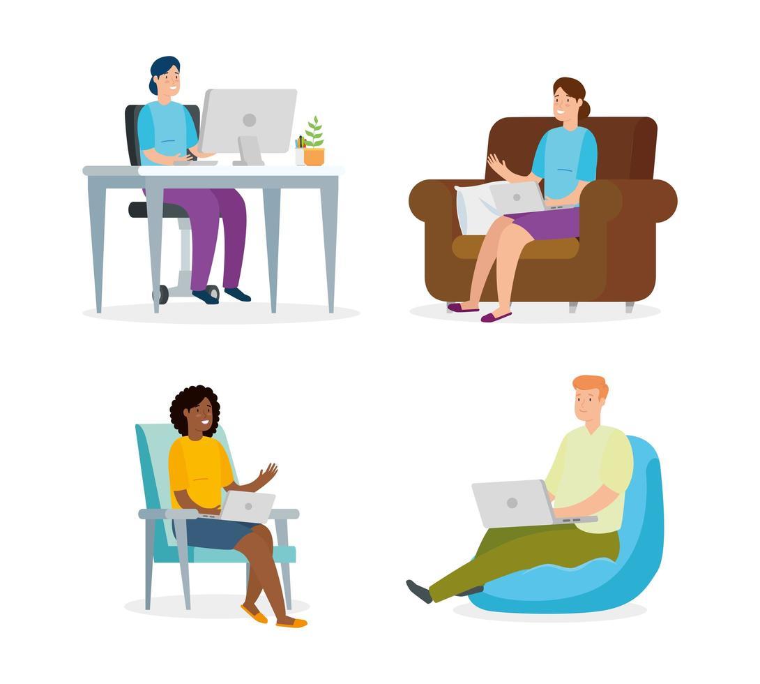 personnes assises sur des chaises avec des ordinateurs portables vecteur