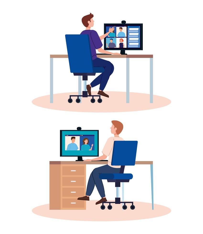 hommes en vidéoconférences sur le lieu de travail vecteur