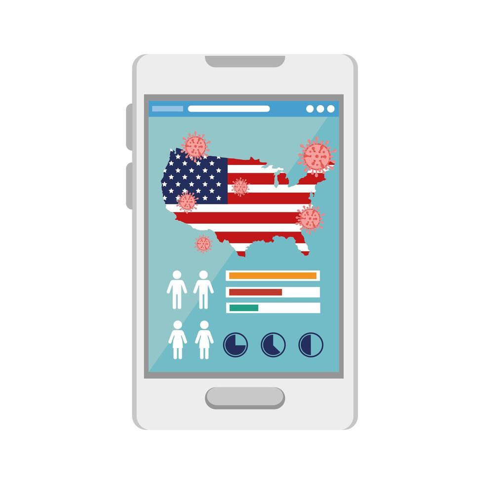 médecine en ligne pour le coronavirus avec carte des états-unis sur smartphone vecteur