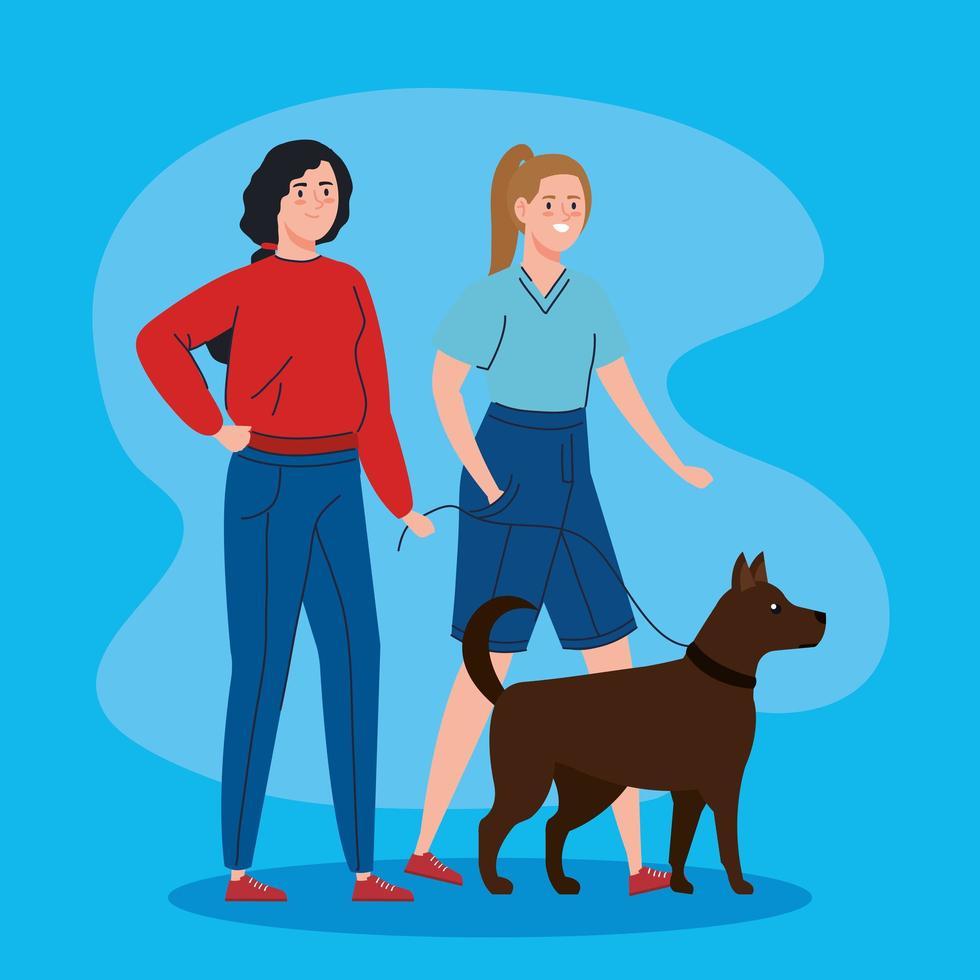 jeunes femmes promenant leur chien vecteur