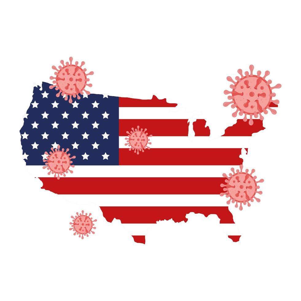 carte des états-unis et campagne de prévention des coronavirus vecteur