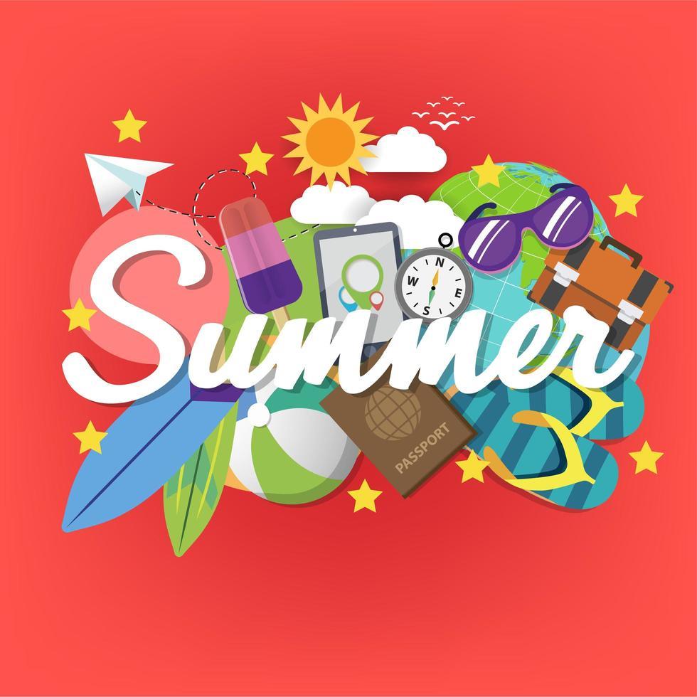 modèle de bannière d'été sur fond de couleur. vecteur