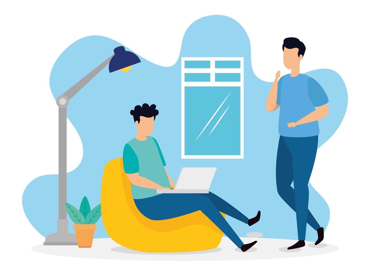 scène de coworking avec des hommes à l'intérieur vecteur