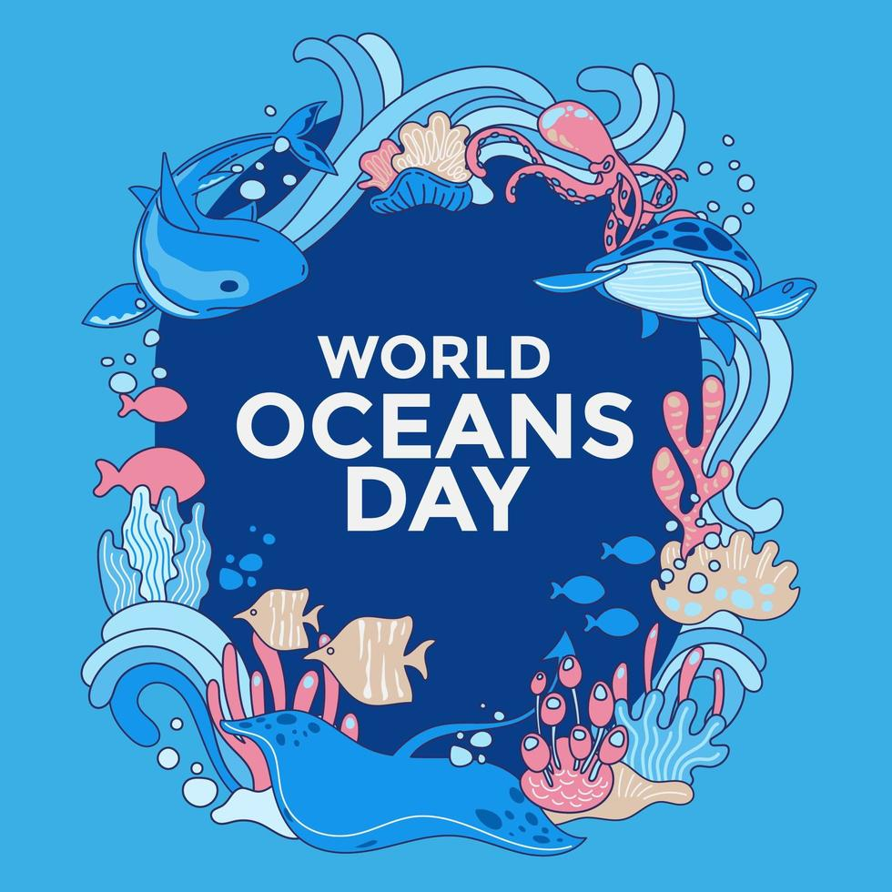conception de la journée mondiale de l'océan vecteur
