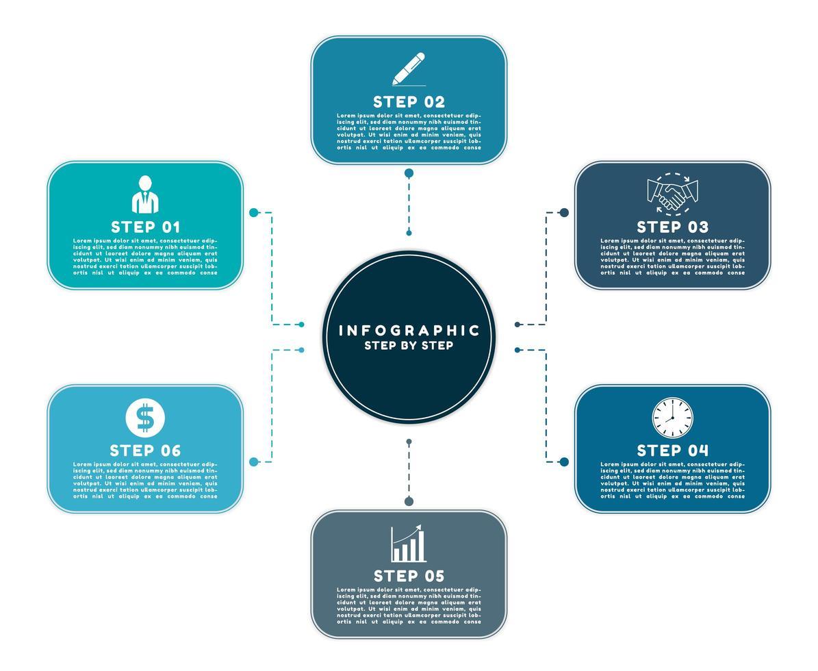 conception d'étape de travail infographique moderne vecteur