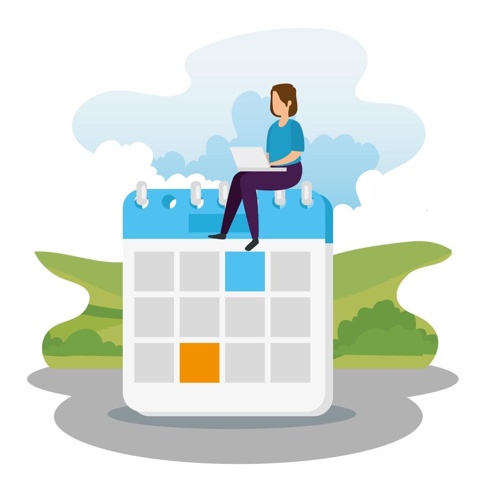 femme avec ordinateur portable assis sur un calendrier vecteur