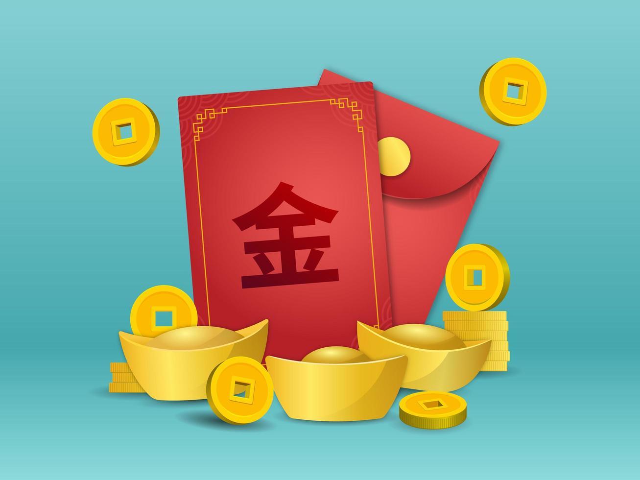 angpao chinois avec pièce d'or et lingot vecteur