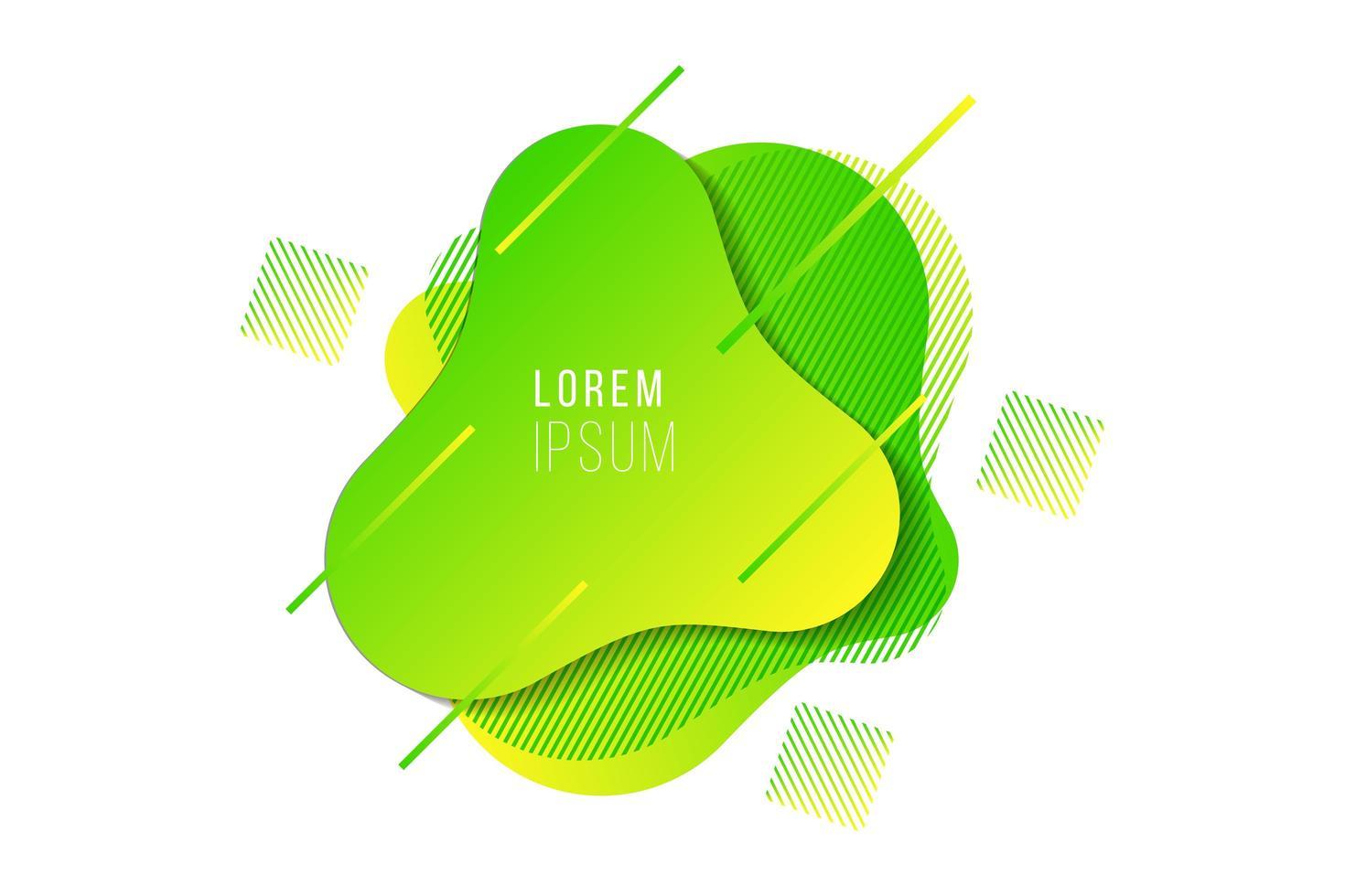 Élément de bannière fluide dégradé abstrait jaune vert moderne vecteur