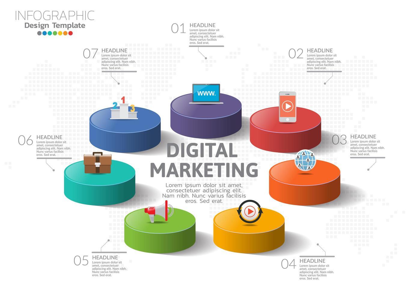 concept de marketing numérique. graphique infographique avec des icônes, peut être utilisé pour la mise en page de flux de travail, diagramme, rapport, conception de sites Web. vecteur