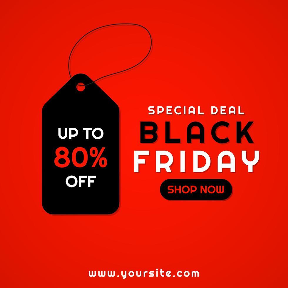 vente bannière fond rouge étiquette conception vendredi noir vecteur