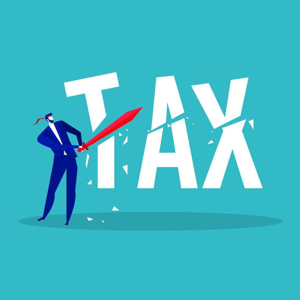 homme d & # 39; affaires en utilisant l & # 39; épée pour couper le mot impôt vecteur