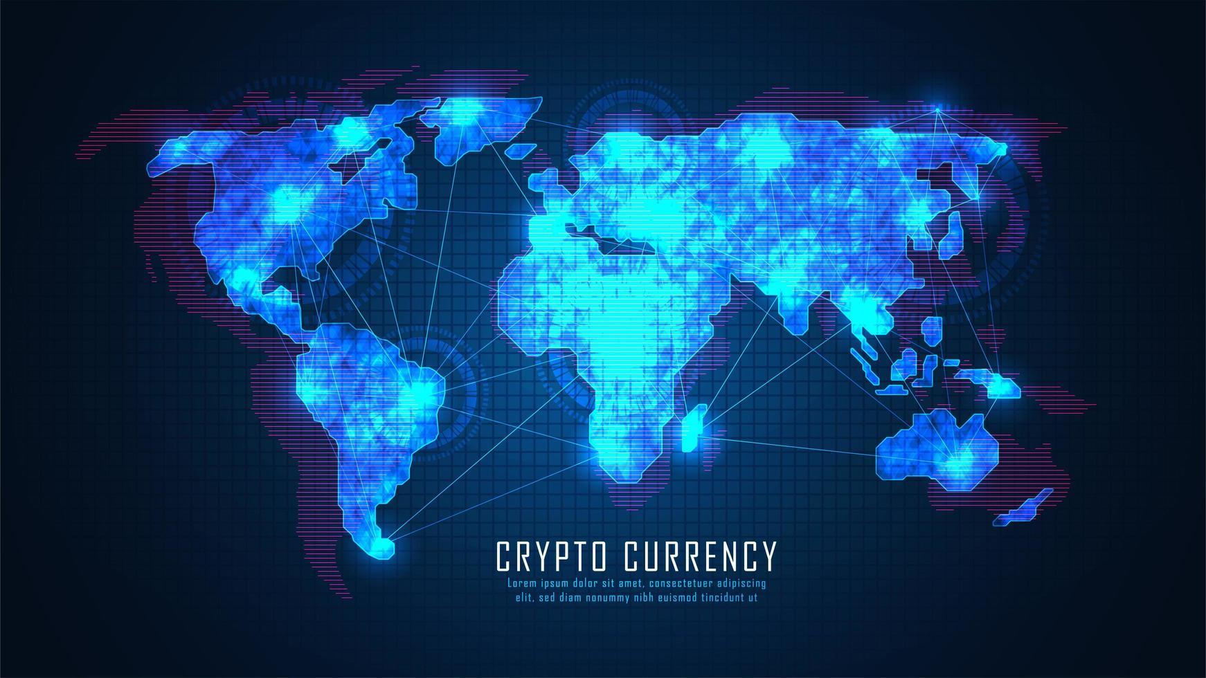 technologie blockchain avec concept de connexion globale vecteur